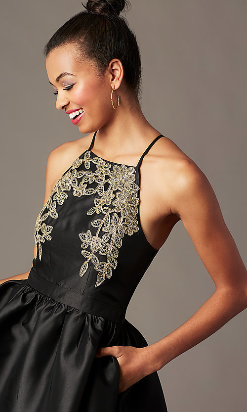 Image of satin short a-line homecoming dress with pockets. Style: LP-25524 Detail Image 7
