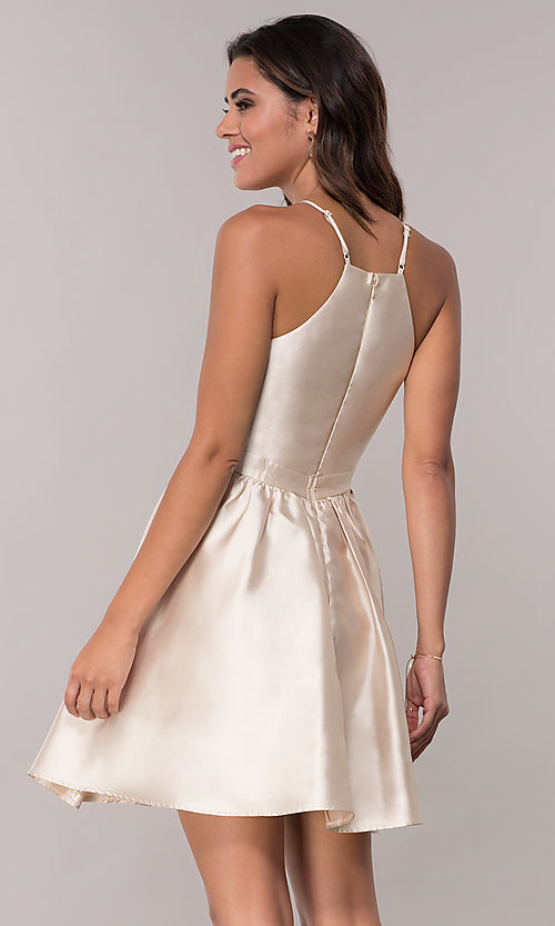 Image of satin short a-line homecoming dress with pockets. Style: LP-25524 Back Image