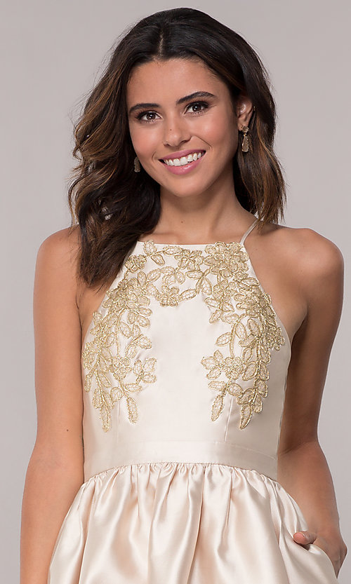 Image of satin short a-line homecoming dress with pockets. Style: LP-25524 Detail Image 1