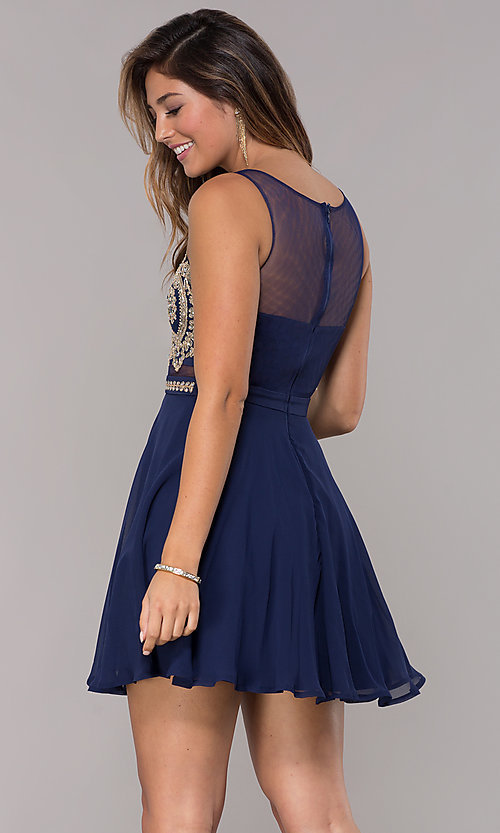 Image of illusion-bodice short chiffon homecoming dress. Style: LP-27784 Back Image