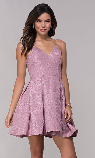 V-Neck Short Print Homecoming Dress with Pockets