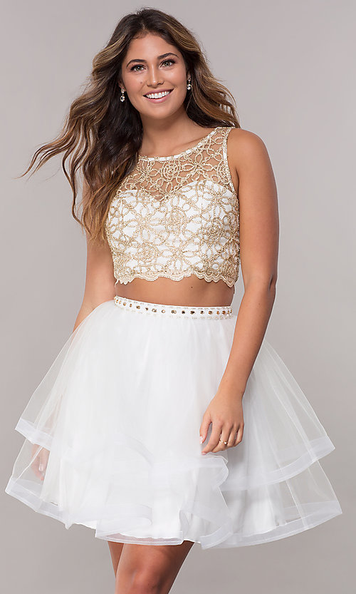 5da3363aaf94 Image of short tiered-skirt homecoming two-piece dress. Style: LP-