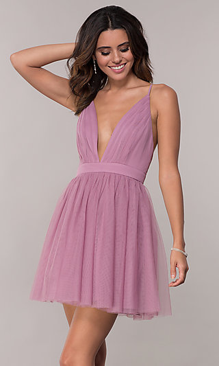 Short Tulle Homecoming Dress with Deep V-Neckline