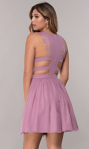 Image of short caged-open-back tulle homecoming party dress. Style: LP-PL-27715 Back Image