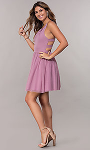 Image of short caged-open-back tulle homecoming party dress. Style: LP-PL-27715 Detail Image 1