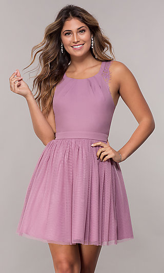 Short Caged-Open-Back Tulle Homecoming Party Dress