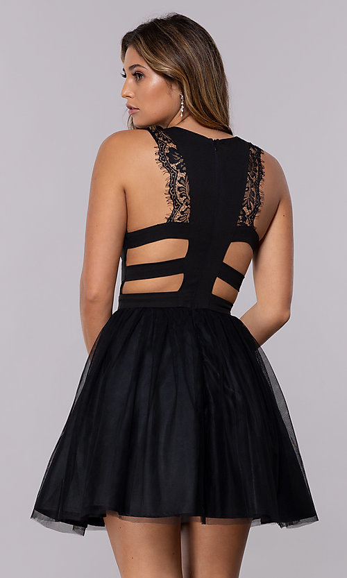 Image of short caged-open-back tulle homecoming party dress. Style: LP-PL-27715 Detail Image 3