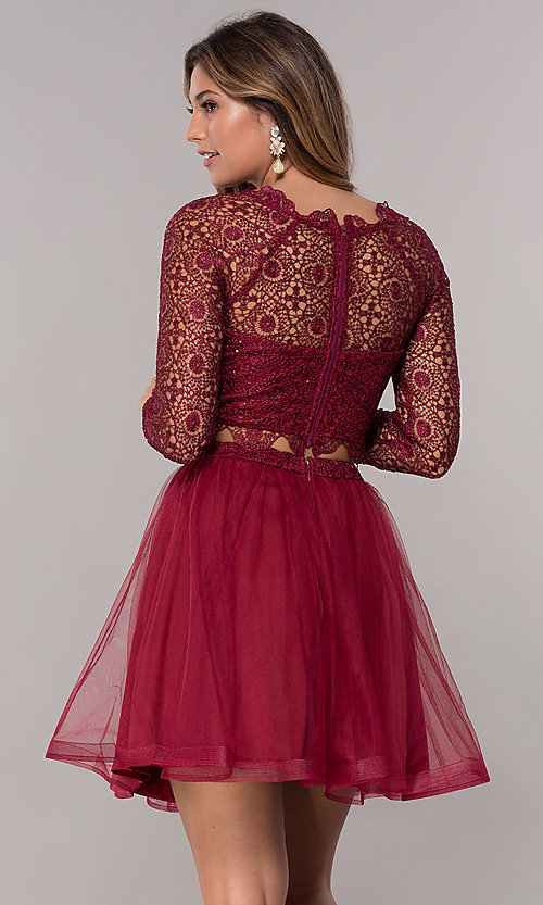 Short Two Piece Red Homecoming Dress With Sleeves