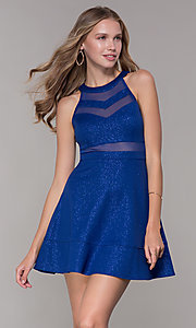 Image of glitter short royal blue homecoming party dress. Style: EM-DHX-2589-420 Front Image
