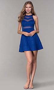 Image of glitter short royal blue homecoming party dress. Style: EM-DHX-2589-420 Detail Image 3