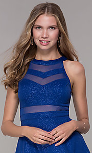 Image of glitter short royal blue homecoming party dress. Style: EM-DHX-2589-420 Detail Image 1