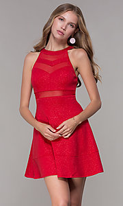 Image of glitter-jersey short high-neck red party dress. Style: EM-DHX-2589-600 Front Image