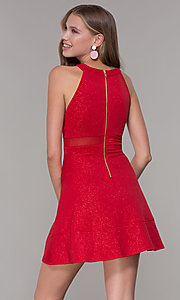 Image of glitter-jersey short high-neck red party dress. Style: EM-DHX-2589-600 Back Image