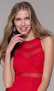 Image of glitter-jersey short high-neck red party dress. Style: EM-DHX-2589-600 Detail Image 1
