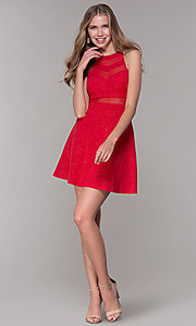 Image of glitter-jersey short high-neck red party dress. Style: EM-DHX-2589-600 Detail Image 3