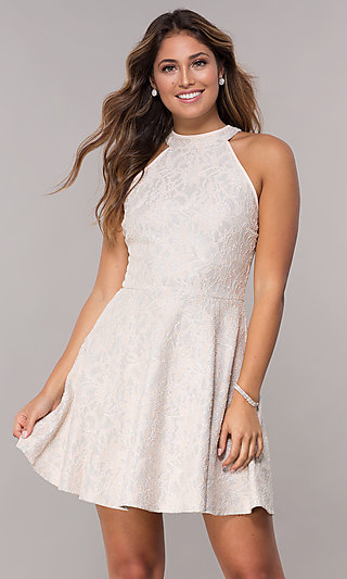 Short Lace High-Neck Party Dress in Blush Pink