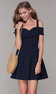 Image of cold-shoulder sweetheart navy blue party dress. Style: EM-FEE-2019-430 Front Image