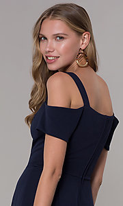 Image of cold-shoulder sweetheart navy blue party dress. Style: EM-FEE-2019-430 Detail Image 2