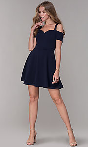 Image of cold-shoulder sweetheart navy blue party dress. Style: EM-FEE-2019-430 Detail Image 3
