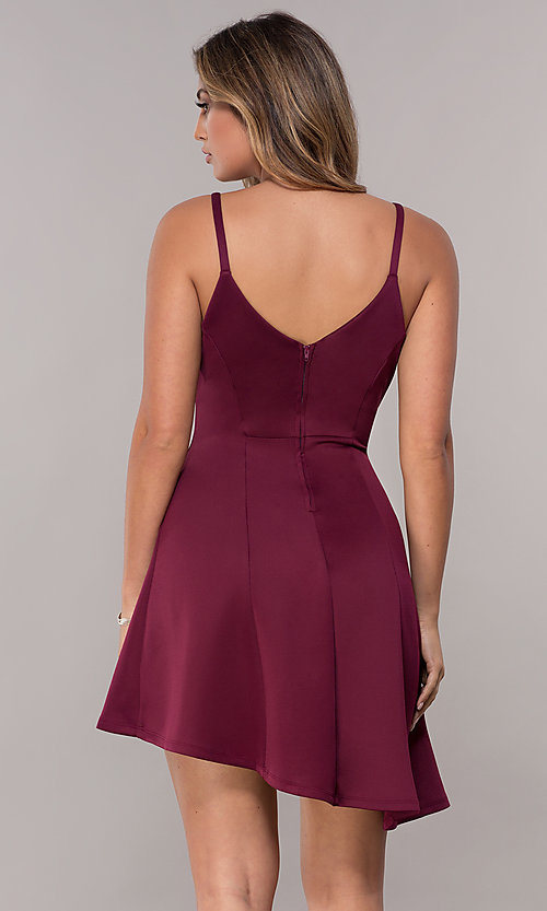 Image of wine red short party dress with asymmetrical hem. Style: EM-HAA-1003-562 Back Image