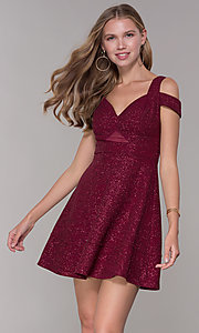 Image of cold-shoulder empire-waist wine red party dress. Style: EM-HBN-1356-550 Front Image