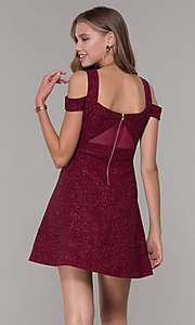 Image of cold-shoulder empire-waist wine red party dress. Style: EM-HBN-1356-550 Back Image