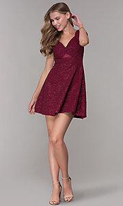 Image of cold-shoulder empire-waist wine red party dress. Style: EM-HBN-1356-550 Detail Image 3