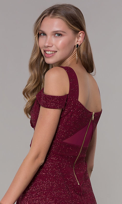 Image of cold-shoulder empire-waist wine red party dress. Style: EM-HBN-1356-550 Detail Image 2