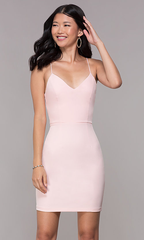Image of corset-back satin short homecoming party dress. Style: MT-9365 Back Image