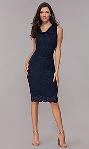 Image of knee-length navy glitter-lace holiday dress. Style: JU-ON-650285 Detail Image 3
