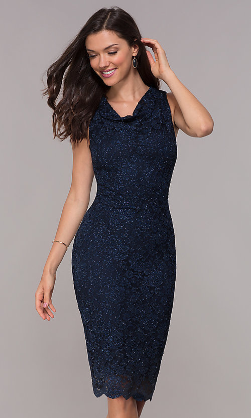 Image of knee-length navy glitter-lace holiday dress. Style: JU-ON-650285 Front Image