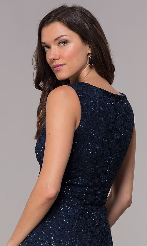 Image of knee-length navy glitter-lace holiday dress. Style: JU-ON-650285 Detail Image 2
