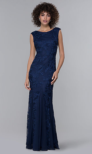Ribbon-Embroidered Long Formal Navy Blue MOB Dress