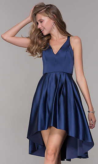 High-Low V-Neck Navy Blue Wedding-Guest Party Dress