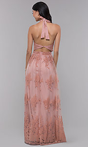 Image of halter high-neck long formal dress in blush pink. Style: LUX-LD4909 Back Image