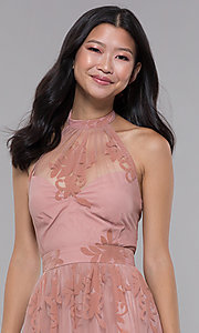 Image of halter high-neck long formal dress in blush pink. Style: LUX-LD4909 Detail Image 1
