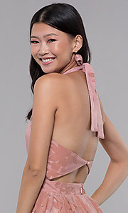 Image of halter high-neck long formal dress in blush pink. Style: LUX-LD4909 Detail Image 2