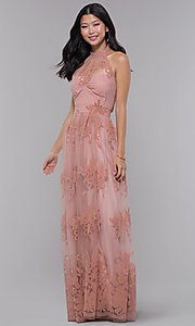 Image of halter high-neck long formal dress in blush pink. Style: LUX-LD4909 Detail Image 3