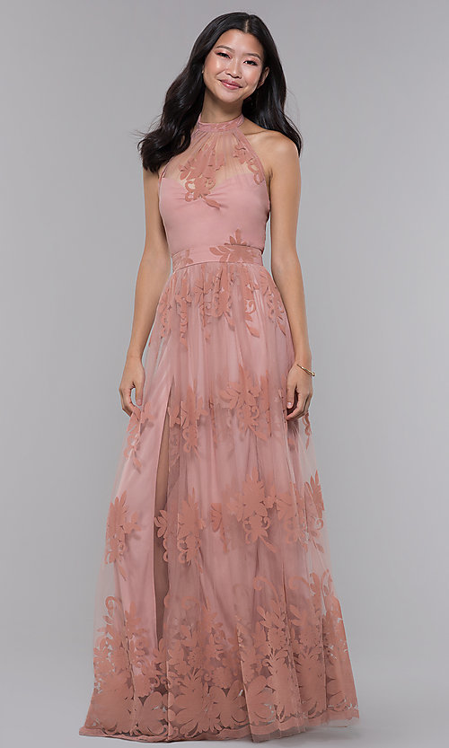 Image of halter high-neck long formal dress in blush pink. Style: LUX-LD4909 Front Image