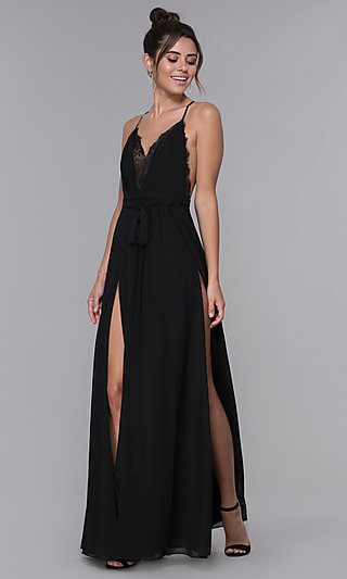 Open-Back Long Black Homecoming Dress with Slits