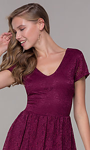 Image of v-neck short-sleeve bubble-hem lace party dress. Style: MY-5254GA1D Detail Image 1