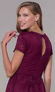 Image of v-neck short-sleeve bubble-hem lace party dress. Style: MY-5254GA1D Detail Image 2