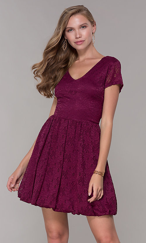 Image of v-neck short-sleeve bubble-hem lace party dress. Style: MY-5254GA1D Front Image