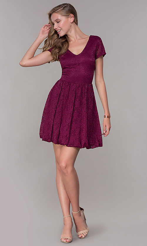 Image of v-neck short-sleeve bubble-hem lace party dress. Style: MY-5254GA1D Detail Image 3