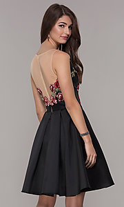 Image of short black homecoming dress with embroidered bodice. Style: CD-1811S Back Image