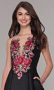 Image of short black homecoming dress with embroidered bodice. Style: CD-1811S Detail Image 1