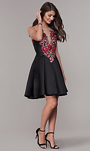 Image of short black homecoming dress with embroidered bodice. Style: CD-1811S Detail Image 2