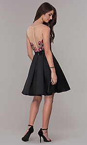 Image of short black homecoming dress with embroidered bodice. Style: CD-1811S Detail Image 3