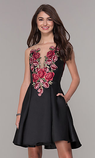 Short Black Homecoming Dress with Embroidered Bodice