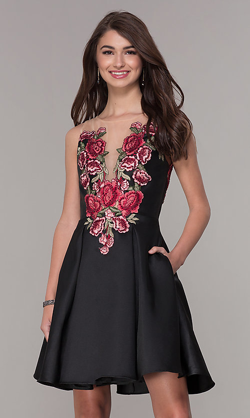 Image of short black homecoming dress with embroidered bodice. Style: CD-1811S Front Image